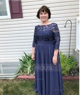 Scoop Neck Floor-Length Chiffon Lace Mother of the Bride Dress (267213791)