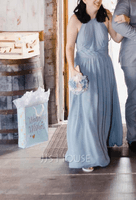 Empire Halter Floor-Length Chiffon Bridesmaid Dress With Ruffle Bow(s) (007206460)