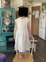 Knee-length Flower Girl Dress - Cotton Sleeveless Scoop Neck With Lace Bow(s) (269193584)
