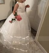 Floor-length Flower Girl Dress - Organza Sleeveless Scoop Neck With Bow(s) (Petticoat NOT included) (269193633)