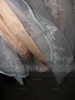 A-Line/Princess V-neck Knee-Length Tulle Wedding Dress With Bow(s) (265176903)