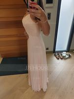 V-neck Floor-Length Chiffon Lace Bridesmaid Dress With Bow(s) Split Front Pleated (266224725)