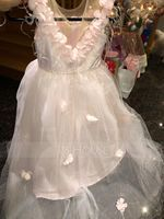 A-Line/Princess Sweep Train Flower Girl Dress - Tulle Sleeveless Scoop Neck With Flower(s) (010153234)