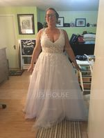 A-Line V-neck Floor-Length Tulle Wedding Dress With Beading Sequins (002207440)