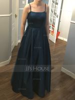 Square Neckline Floor-Length Satin Prom Dresses (272236175)