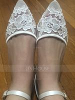 Women's Mesh Flat Heel Closed Toe Flats With Applique (047187620)