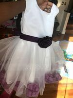 Ball Gown Knee-length Flower Girl Dress - Cotton Blends Sleeveless Scoop Neck With Flower(s) Bow(s) (269183965)