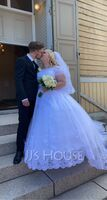 Ball-Gown/Princess Off-the-Shoulder Court Train Tulle Wedding Dress With Beading Sequins (002171933)