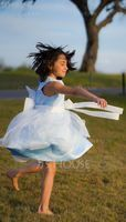 Knee-length Flower Girl Dress - Organza Sleeveless Scoop Neck With Beading Flower(s) Bow(s) (269206801)
