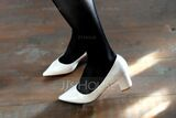 Women's Patent Leather Chunky Heel Pumps shoes (085102136)
