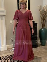 V-neck Floor-Length Chiffon Mother of the Bride Dress With Ruffle (267198314)