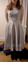 A-Line/Princess Scoop Neck Asymmetrical Satin Bridesmaid Dress (266176998)