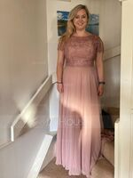 A-Line Scoop Neck Floor-Length Chiffon Bridesmaid Dress (007234400)