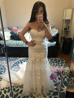 Trumpet/Mermaid Sweetheart Court Train Tulle Lace Wedding Dress (002186404)
