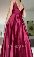 A-Line V-neck Floor-Length Satin Bridesmaid Dress With Ruffle Split Front (266258075)
