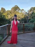 Trumpet/Mermaid V-neck Sweep Train Jersey Evening Dress (271177398)