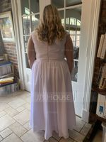 Off-the-Shoulder Floor-Length Chiffon Bridesmaid Dress With Ruffle Split Front Pockets (266232901)