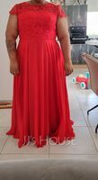 Scoop Neck Floor-Length Chiffon Lace Bridesmaid Dress With Pockets (266230864)