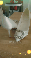 Women's Silk Stiletto Heel Closed Toe Pumps With Crystal (047174876)