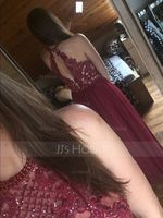 A-Line Scoop Neck Floor-Length Tulle Prom Dresses With Beading Sequins (018187192)