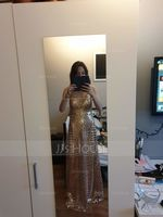 Sheath/Column V-neck Floor-Length Sequined Prom Dresses (018221163)