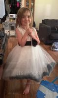 Knee-length Flower Girl Dress - Cotton Blends Sleeveless Scoop Neck With Flower(s) Bow(s) (269210225)