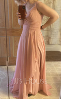 A-Line V-neck Floor-Length Bridesmaid Dress With Split Front (266258141)