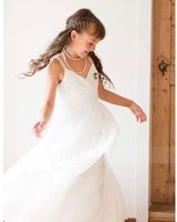 V-neck Floor-Length Chiffon Junior Bridesmaid Dress With Ruffle (268193393)