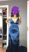 Trumpet/Mermaid V-neck Sweep Train silk like satin Evening Dress (017209139)