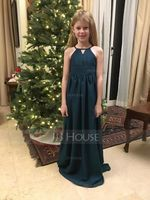 A-Line Scoop Neck Floor-Length Chiffon Junior Bridesmaid Dress With Ruffle (009119580)