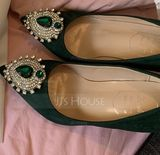 Women's Velvet Stiletto Heel Closed Toe Pumps With Rhinestone Others (273191337)