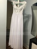 A-Line V-neck Sweep Train Chiffon Wedding Dress With Beading Sequins (002171966)