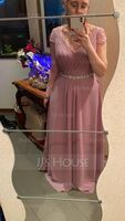 A-Line/Princess V-neck Floor-Length Chiffon Bridesmaid Dress With Ruffle (266177000)