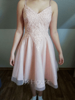A-Line V-neck Short/Mini Tulle Prom Dresses With Beading Sequins (272256618)