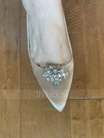 Women's Silk Like Satin Stiletto Heel Pumps With Buckle Rhinestone (273184212)
