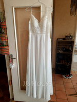 A-Line V-neck Floor-Length Wedding Dress With Split Front (002254052)