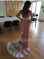 Trumpet/Mermaid Sweetheart Sweep Train Chiffon Lace Prom Dresses (018186922)