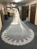 One-tier Lace Applique Edge Cathedral Bridal Veils With Lace (006168552)