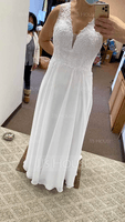 A-Line V-neck Sweep Train Chiffon Lace Wedding Dress With Lace (002250151)