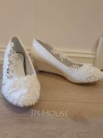 Women's Leatherette Wedge Heel Closed Toe Wedges With Stitching Lace (047153539)