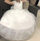 Ball-Gown/Princess Floor-length Flower Girl Dress - Tulle/Lace Short Sleeves Scoop Neck With Bow(s) (010225312)