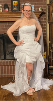 A-Line Sweetheart Asymmetrical Organza Wedding Dress With Ruffle Beading Sequins (002064197)