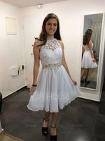 A-Line High Neck Knee-Length Chiffon Homecoming Dress With Beading Sequins (300244308)