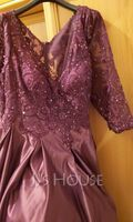 Ball-Gown/Princess V-neck Floor-Length Satin Prom Dresses With Lace Beading Sequins Pockets (018220257)