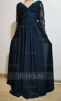 V-neck Floor-Length Chiffon Lace Bridesmaid Dress (266215825)