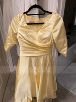 V-neck Tea-Length Satin Mother of the Bride Dress With Ruffle (267236771)