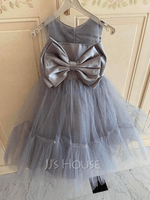 Ball-Gown/Princess Knee-length Flower Girl Dress - Satin/Tulle Sleeveless Scoop Neck With Bow(s) (010254259)