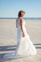 Scoop Neck Sweep Train Chiffon Wedding Dress With Ruffle Lace Split Front (265202358)