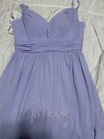 A-Line V-neck Floor-Length Chiffon Bridesmaid Dress (266251572)
