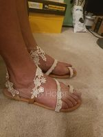 Women's Leatherette Flat Heel Flats Peep Toe Sandals With Stitching Lace (273219093)